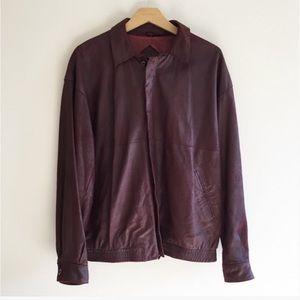 Vintage Genuine Leather Burgundy Bomber Jacket